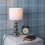 MiniSun Lampe de Table, Chevet, Bureau. Variateur Touch, Tactile, Contemporain Moderne Eclairage 4 niveaux Chrome Polis et Blanc effet Soie de la marque MiniSun image 3 produit