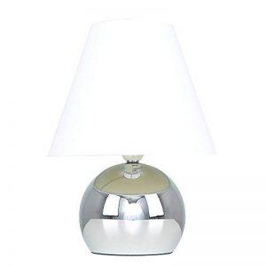 MiniSun Lampe de Table, Chevet Touch Moderne. Variateur Touch intégré. Pied Boule Chromé et Abat-Jour Conique en Tissu Blanc de la marque MiniSun image 0 produit