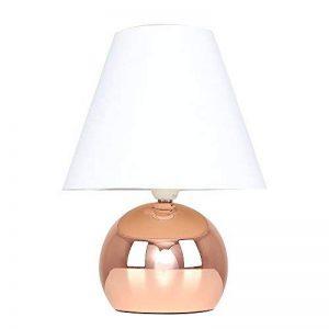 MiniSun Lampe de Table, Chevet Touch Moderne. Variateur Touch intégré. Pied Boule Cuivré et Abat-Jour Conique en Tissu Blanc de la marque MiniSun image 0 produit