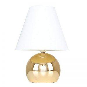 MiniSun Lampe de Table, Chevet Touch Moderne. Variateur Touch intégré. Pied Boule Laiton Poli et Abat-Jour Conique en Tissu Blanc de la marque MiniSun image 0 produit