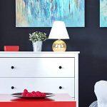 MiniSun Lampe de Table, Chevet Touch Moderne. Variateur Touch intégré. Pied Boule Laiton Poli et Abat-Jour Conique en Tissu Blanc de la marque MiniSun image 2 produit