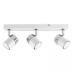 MiniSun Moderne 3 spot, Blanc brillant et chrome polis. Rail, réglette, spot plafonnier ou applique. Réglable, GU10 de la marque MiniSun image 0 produit