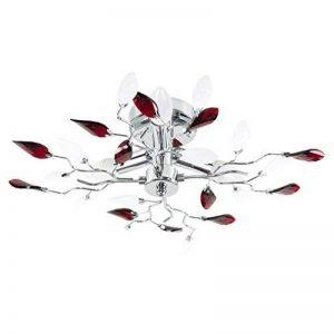 MiniSun Plafonnier Lustre Aux 3 Branches Élégant. Fini en Chrome avec Feuillage Décoré de Bijoux (acryliques) Clair Givré & Rouge de la marque MiniSun image 0 produit
