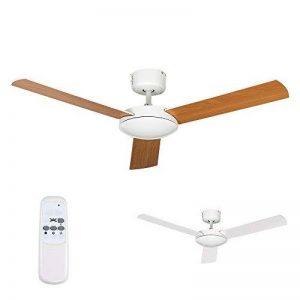 MiniSun - Ventilateur de Plafond de 106 cm. Design Moderne, Fini Dans Blanc et avec 3 Pales Inversibles (blanc sur une face, effet hêtre sur l'autre) Fourni avec une télécommande utile de la marque MiniSun image 0 produit