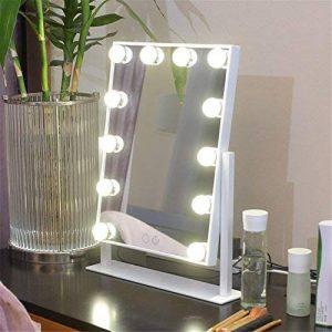 Miroir de maquillage 1 face sur pied pour table - avec lampes pour miroir de style professionnel - Miroir de maquillage à LED, rabattable - 400x 80x 485mm de la marque YROAR image 0 produit
