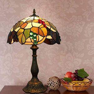 MJW Européenne Tiffany Vitrail Brun Grape Chambre Lampe De Table De Chevet Rétro Noir Vert Éclairage De Chambre D'hôtel,26Cm*34Cm de la marque MJW image 0 produit