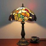 MJW Européenne Tiffany Vitrail Brun Grape Chambre Lampe De Table De Chevet Rétro Noir Vert Éclairage De Chambre D'hôtel,26Cm*34Cm de la marque MJW image 1 produit