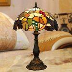 MJW Européenne Tiffany Vitrail Brun Grape Chambre Lampe De Table De Chevet Rétro Noir Vert Éclairage De Chambre D'hôtel,26Cm*34Cm de la marque MJW image 3 produit