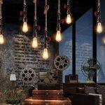 Modeen AC 240V E27 Vintage Style Rustique Luminaire Tuyau de fer Lustres de plomberie Chanvre Rétro Lampe Suspension en Corde pour Restaurant Bar Cafe Lighting Utilisation de la marque Modeen image 1 produit