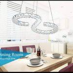 Moderne Conception 23W Forme S LED Cristal Lustre Blanc Froid 6000-6500K Éclairage Luminaire de Plafond AC 100-240V Lampe(60 x 30 cm) pour Salon, Salle à Manger, Chambre à Coucher de la marque ELINKUME image 3 produit