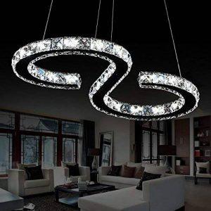 Moderne Conception 23W Forme S LED Cristal Lustre Blanc Froid 6000-6500K Éclairage Luminaire de Plafond AC 100-240V Lampe(60 x 30 cm) pour Salon, Salle à Manger, Chambre à Coucher de la marque ELINKUME image 0 produit