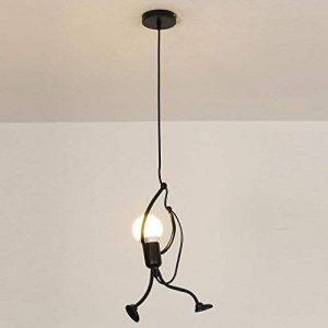 Moderne Industrielle Luminaire pendentif Contemporain Créatif Noir Métal Lampe pendentif DIY Art Conception Éclairage suspendu 1 lumière pour Chambre pour enfants Magasin Bar Cafe, Ø26cm, 1*E27*Max60W de la marque ZLND image 0 produit