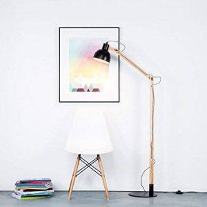 Moderne Lampadaire au look Nordic avec câble et armature en bois, 1x E27max. 40W/Textile bois, métal/bois, en bois clair/noir de la marque Lightbox image 0 produit