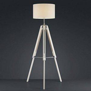 Moderne Lampadaire - Pieds en bois et Abat-jour en tissu en Blanc - pour pour E27 maximal 60 Watt incluant 10W ampoule LED de la marque LHG image 0 produit