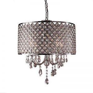 Moderne Lampe suspendues pendante en cristal abat-jour Lustres de salon Plafonnier Suspension pendentif cylindrique E14 (ampoules non incluses) de la marque NAIZY image 0 produit