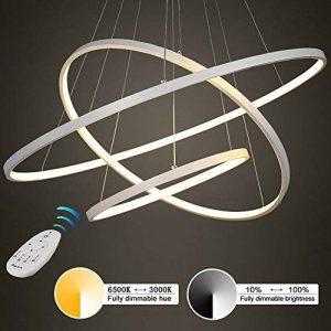Moderne LED 3 anneau pendentif éclairage, acrylique et métal lustre de bureau plafonnier luminaire pour la maison et le studio, gradation stepless 3000 K-6500K Hauteur réglable (60 * 40 * 20) de la marque LED Pendant Light image 0 produit