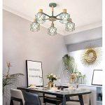 Moderne Minimaliste Lampe de Plafond en fer forgé oiseau cage Abat-jour Salon Plafonnier en bois naturel Chambre Lumières, E27* 5(non inclus) vert de la marque sweet sunshine image 1 produit