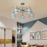 Moderne Minimaliste Lampe de Plafond en fer forgé oiseau cage Abat-jour Salon Plafonnier en bois naturel Chambre Lumières, E27* 5(non inclus) vert de la marque sweet sunshine image 2 produit