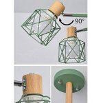 Moderne Minimaliste Lampe de Plafond en fer forgé oiseau cage Abat-jour Salon Plafonnier en bois naturel Chambre Lumières, E27* 5(non inclus) vert de la marque sweet sunshine image 4 produit