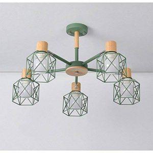Moderne Minimaliste Lampe de Plafond en fer forgé oiseau cage Abat-jour Salon Plafonnier en bois naturel Chambre Lumières, E27* 5(non inclus) vert de la marque sweet sunshine image 0 produit