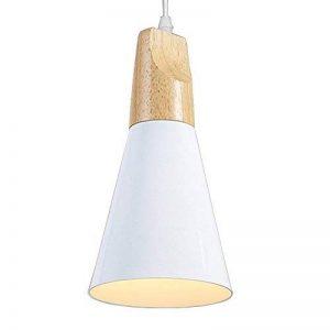 Métal Plafonnier Suspensions Lampe Culot de Ampoule E27 Aluminum et Bois Blanc Suspensions Luminaire LED Vernis de Cuisson Finish de la marque Chrasy image 0 produit