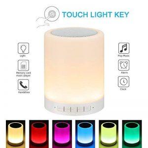 Multicolore Lampe de Chevet Tactile, Lampe Bluetooth Enceinte Sans Fil Lampe d'Ambiance Lampe de Table Lampe LED USB Rechargeable avec 3 Intensités de Luminosité, Veilleuse Led de la marque Weiao image 0 produit