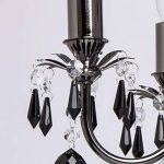 MW-Light 313010105 Lustre Chandelier à 5 Lumières en Métal Noir Brillant avec Lampes Bougies décoré de Pampilles en Cristal Noir pour Salon 5x60W E14 de la marque MW-Light image 3 produit
