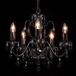 MW-Light 313010105 Lustre Chandelier à 5 Lumières en Métal Noir Brillant avec Lampes Bougies décoré de Pampilles en Cristal Noir pour Salon 5x60W E14 de la marque MW-Light image 1 produit