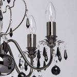 MW-Light 313010105 Lustre Chandelier à 5 Lumières en Métal Noir Brillant avec Lampes Bougies décoré de Pampilles en Cristal Noir pour Salon 5x60W E14 de la marque MW-Light image 2 produit