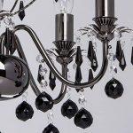 MW-Light 313010105 Lustre Chandelier à 5 Lumières en Métal Noir Brillant avec Lampes Bougies décoré de Pampilles en Cristal Noir pour Salon 5x60W E14 de la marque MW-Light image 4 produit