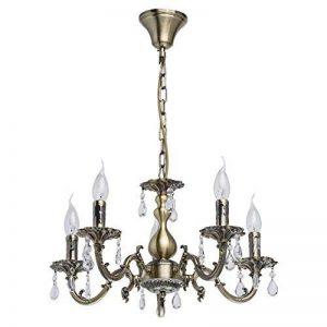 MW-Light Lustre Classique à 5 Branches en Métal couleur Bronze Antique avec Lampes en Forme de Bougies décoré de Pampilles en Cristal pour Salon Salle à Manger Chambre 5x60W E14 de la marque MW-Light image 0 produit