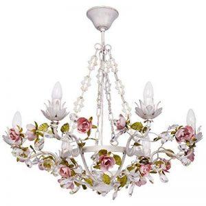 MW-Light Lustre Suspension à 6 Lampes Bougies de Style Floral en Métal Blanc décoré de Fleurs et Feuilles en Métal Coloré et Cristaux pour Salon ou Chambre 6x40W E14 de la marque MW-Light image 0 produit
