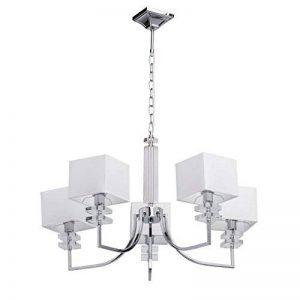 MW-Light - Lustre suspension de design moderne en métal de couleur chrome avec abat-jours carrés en tissu blanc , 5x40W E14 de la marque MW-Light image 0 produit
