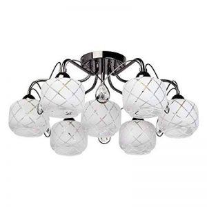 MW-Light Plafonnier Moderne à 7 Lampes en Métal Noir Brillant avec Globes en Verre Brossé avec Motif pour Chambre ou Salon 7x60W E14 de la marque MW-Light image 0 produit