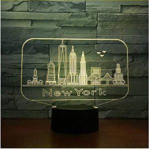 New York City Bâtiment 3D Nuit Lumière Coloré Led Atmosphère Chambre Lampe De Table Belle 7 Changement De Couleur 3D Usb Led Nuit Lumière de la marque Eqwr image 0 produit