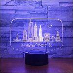 New York City Bâtiment 3D Nuit Lumière Coloré Led Atmosphère Chambre Lampe De Table Belle 7 Changement De Couleur 3D Usb Led Nuit Lumière de la marque Eqwr image 2 produit