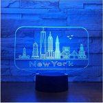 New York City Bâtiment 3D Nuit Lumière Coloré Led Atmosphère Chambre Lampe De Table Belle 7 Changement De Couleur 3D Usb Led Nuit Lumière de la marque Eqwr image 4 produit