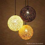 NEWSTARTS Lustre en lin tissé chambre à coucher salle à manger maison boule champ rotin lanterne pendentifs lumière pendentif rond (blanc) de la marque NEWSTARTS image 2 produit