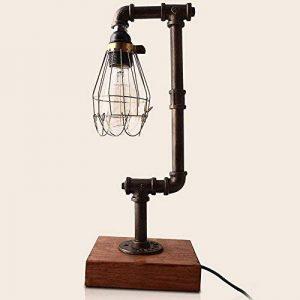 NIUYAO Lampes de Table Abat-jour Cage en Métal avec Tuyau Loft Style Lampes de Bureau Industriel Vintage Lampes de chevet de la marque NIUYAO image 0 produit