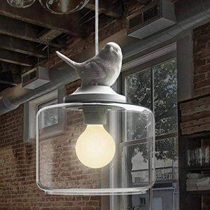 NIUYAO Suspension Lustre Contemporain Doux et Romantique Oiseau en résine Abat-jour avec Clair Verre Pendant Lampe Ceiling Light Chandelier-Blanc de la marque NIUYAO image 0 produit