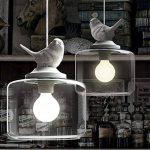 NIUYAO Suspension Lustre Contemporain Doux et Romantique Oiseau en résine Abat-jour avec Clair Verre Pendant Lampe Ceiling Light Chandelier-Blanc de la marque NIUYAO image 3 produit