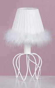 ONLI - lampe de table série Princesse Blanche, structure métal blanc et abat-jour en tissu plissé. Bords avec plumes. Culot E14. Vintage Style Classique, romantique, idéal pour la chambre d de la marque ONLI image 0 produit