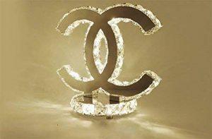 OOFAY LIGHT® Moderne Simple Cristal Lampe De Chevet LED Créatif Double-C Acier Inoxydable Lumière De Bureau Chambre À Coucher Salon, Blanc Chaud (24 * 26Cm) de la marque OOFAY LIGHT® image 0 produit
