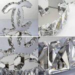 OOFAY LIGHT® Moderne Simple Cristal Lampe De Chevet LED Créatif Double-C Acier Inoxydable Lumière De Bureau Chambre À Coucher Salon, Blanc Chaud (24 * 26Cm) de la marque OOFAY LIGHT® image 2 produit