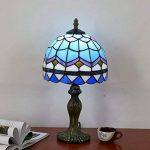 OOFAY Simple Européen Bleu Clair Méditerranéen Créatif Tiffany Style Lampe De Bureau Vitrail Chambre Lampe De Chevet [Classe Énergétique A ++] de la marque OOFAY TAPS image 2 produit
