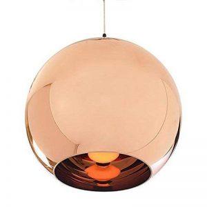 Originale Vintage Lampe Suspension Lustre Plafond Boule Abat-jour en verre plaqué Cuivre Poli Miroir Diamètre 15cm, sans ampoule ( Bronzé) de la marque AZX image 0 produit