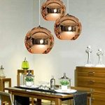 Originale Vintage Lampe Suspension Lustre Plafond Boule Abat-jour en verre plaqué Cuivre Poli Miroir Diamètre 15cm, sans ampoule ( Bronzé) de la marque AZX image 1 produit
