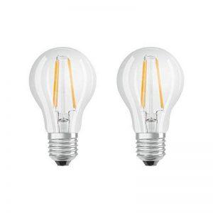 OSRAM LED BASE CLASSIC A / Lampe LED, ampoule de forme classique, avec un style filament, avec un culot à vis: E27, 7 W, 220…240 V, 60 W remplacement, clair, 2700 K, 2pack de la marque Osram image 0 produit