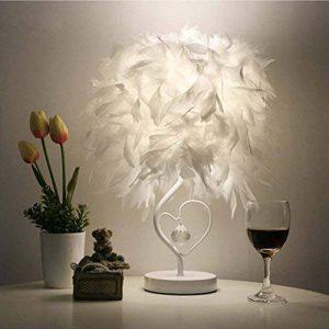 OULII Lampe de table avec UE-fiche lecture de chevet salle salon cœur forme plume Crystal, cadeau de Noël de la marque OULII image 0 produit