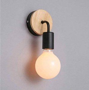 OYGROUP Loft Lampe murale noire Simplicity E27 LED Applique murale en fer et en bois pour salle des enfants Chambre Bar Hôtel (sans ampoule) de la marque image 0 produit